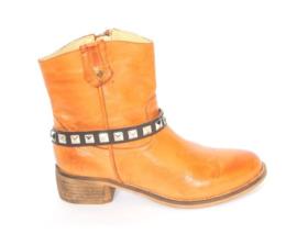 Brown leather Belts- silver Studs- Short  (prijs per paar)