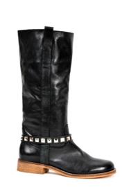 Black Leather Belts - Silver Studs Short  (prijs per paar)