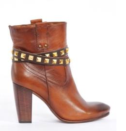 Brown Leather Belts - Golden Studs Long  (prijs per paar)