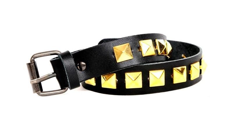 Black Leather Belts - Golden Studs Short  (prijs per paar)