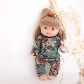 Hip pop Pyjama Old green flowers  34 cm