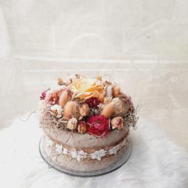 Droogbloemen taart Roos