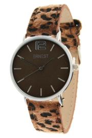 """Horloge """" Leopard Bruin / Zilver """""""