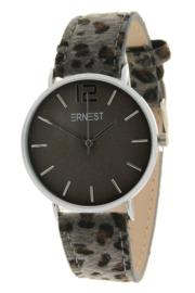 """Horloge """" Leopard Grijs / Zilver """""""