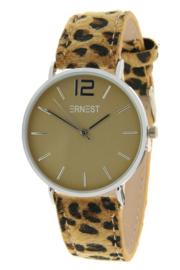 "Horloge "" Leopard Camel / Zilver """
