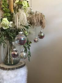 Glazen parelmoer droogbloemen kerstbal ( Maxi )