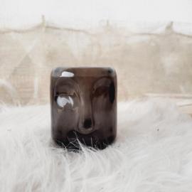 Waxine houder face zwart