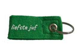 Sleutelhanger 'liefste juf' groen