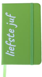 Notitieboekje 'liefste juf' groen