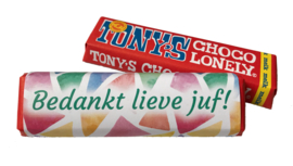 Melk chocoladereep 'Bedankt lieve juf!' Tony's Chocolonely