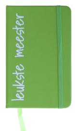Notitieboekje 'leukste meester' groen