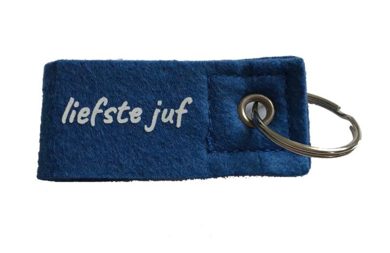 Sleutelhanger 'liefste juf' blauw
