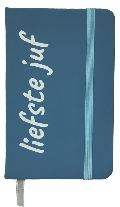 Notitieboekje 'liefste juf' blauw