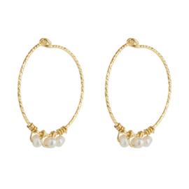 Jules Bean Oorbellen - Shimmering Loop Pearl