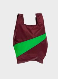 Susan Bijl Shoppingbag M - Burgundy & Greenscreen