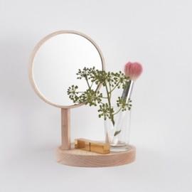 Rond wandplankje met spiegel