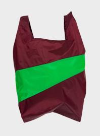 Susan Bijl Shoppingbag L - Burgundy & Greenscreen