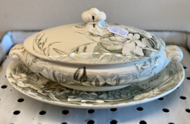 Terrine / groenteterrine / tureen - ovaal - kleiner model - George Jones & Sons (Stoke-on-Trent) - décor LILY