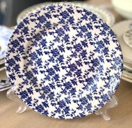 Ontbijtbordje - Broadhurst Staffordshire Ironstone - décor van donkerblauwe roosjes