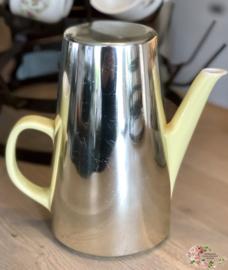 Koffiepot - pastel geel met warmhoud mantel