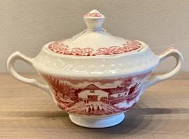 Suikerpot - Société Céramique Maestricht - décor BOERENHOEVE rood