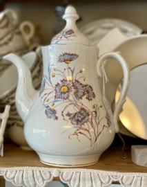 Koffiepot / koffiekan - kleiner maatje - Société Céramique Maestricht - décor van blauwe bloemen / korenbloemen