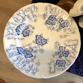 Dinerbord - Creil & Montereau Terre de Fer - décor FLORA LICHEN blauw