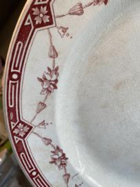 Schaal - rond - groot - Petrus Regout - décor ATHENE rood
