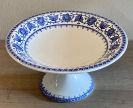 Schaal op hoge voet / tazza - Sarreguémines - décor SYRA blauw