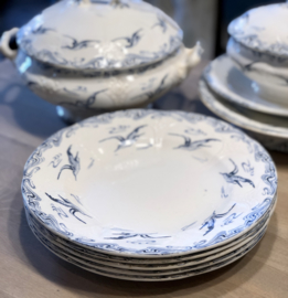 Dinerbord - Longwy - décor MOUETTES blauw