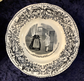 Bordje - gegolfde rand - Creil & Montereau - zwart/wit décor