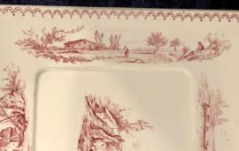 Botervloot-onderkant - U & C Sarreguémines - rood décor van een huisje, bruggetje en bootjes