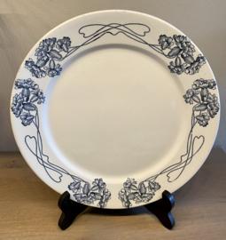 Dinerbord - Utzschneider & Cie ( U & Cie) Sarreguémines - Art Nouveau décor PALLAS blauw
