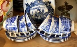 Kop en schotel -klein model -  Woods Ware - Wood & Sons England - Enoch Wood's English Scenery - blauw / wit