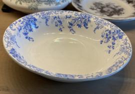 Schaal - groot, rond en wijder uitlopend - ongemerkt, maar Nimy - décor CLOCHETTES helder blauw