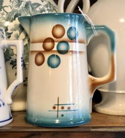 Kannetje - MW (Wasmuel) - Spritzdekor / spuitdecor van geometrische figuren in petrol en bruin