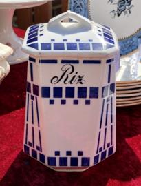 Voorraadpot - RIZ - model AGNES - décor van blauwe geometrische figuren