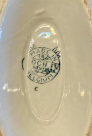 Juskom / saucière / gravy boat - op vaste onderschaal -  Boch - décor TULIPES blauw - model FESTIVAL