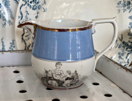 Kannetje / jug - probably Staffordshire lustreware (pink lustre) from around 1815-1825 with Adam Buck inspired prints