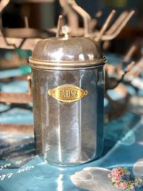 Voorraadpot – chroom – met opschrift FARINE.