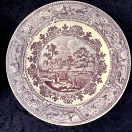 Bord - Boch Frères Kéramis (blindmerk) - décor CLYDE SCENERY oud-paars