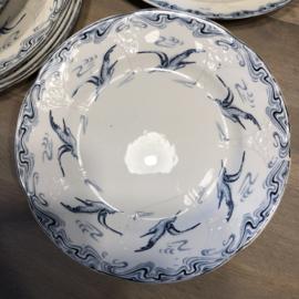 Schaal op voet / tazza - Longwy - décor MOUETTES blauw