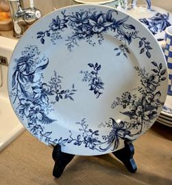 Schaal op lage voet - R&A (Salins) - décor CYCLAMEN blauw
