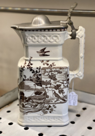 Bierkan / kan met tinnen deksel - B.F.K. (Boch Frères Kéramis) - décor JAPON