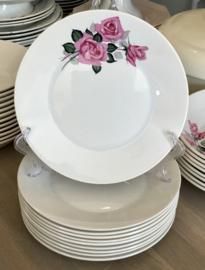 Ontbijtbord / dessertbord - Boch F'es (Boch Frères) - model VEDETTE - décor PIGALLE van roze rozen / roos