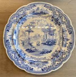 Schaal groot / big platter - William Smith & Co Wedgewood - décor SELECT VIEWS blauw / blue