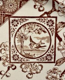 Dinerbord – Ridgway – decor Dado bruin met vliegend vogeltje en appelbloesem – Rd No 20250