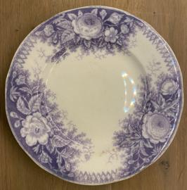 Schaal op lage voet - U & C Sarreguémines - décor JARDINIERE lila / mauve / paars