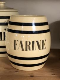 Voorraadpot - Boch - tonnetjesmodel zonder deksel - beige met zwarte banden en opschrift 'FARINE'