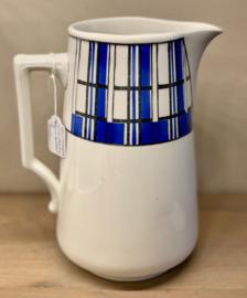Kan / bierpot / pot à bière - Boch La Louvière - model CABOUL - décor QUADRILLE blauw